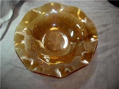 Details about large orange carnival glass bowl iris amp herringbone