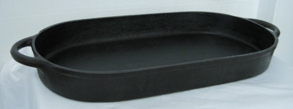 Spotsman vintage large oval cast iron fish fry pan griddle for Cast iron fish fryer