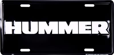 hummer white letters on black 6 x 12 embossed metal license plate tag