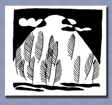 黑白涂鸦手绘画图片/简约黑白线条画/黑白唯美插画