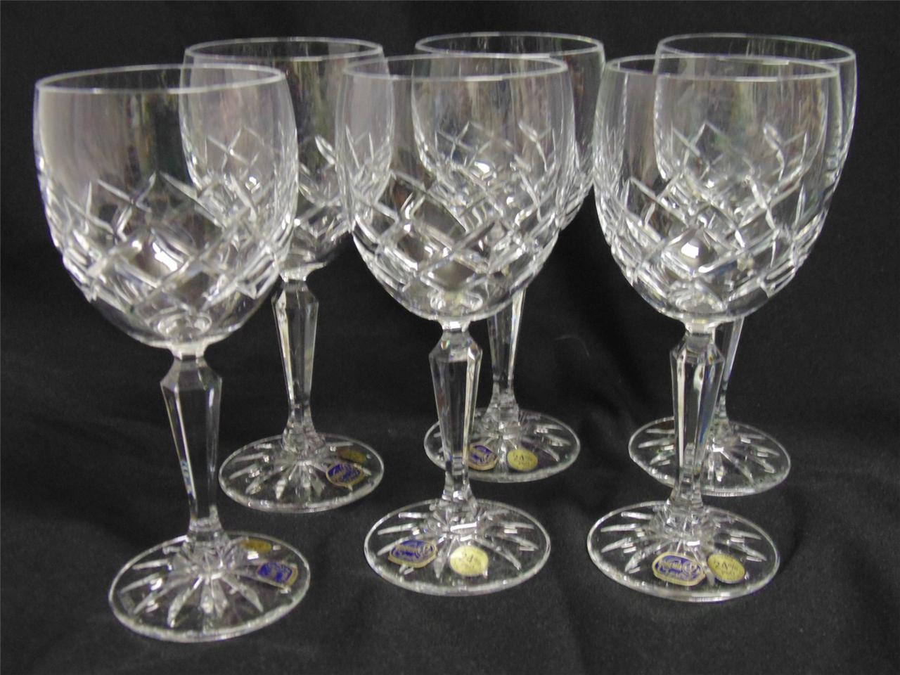 bohemia sienna cut crystal wine glass set of 6 ebay