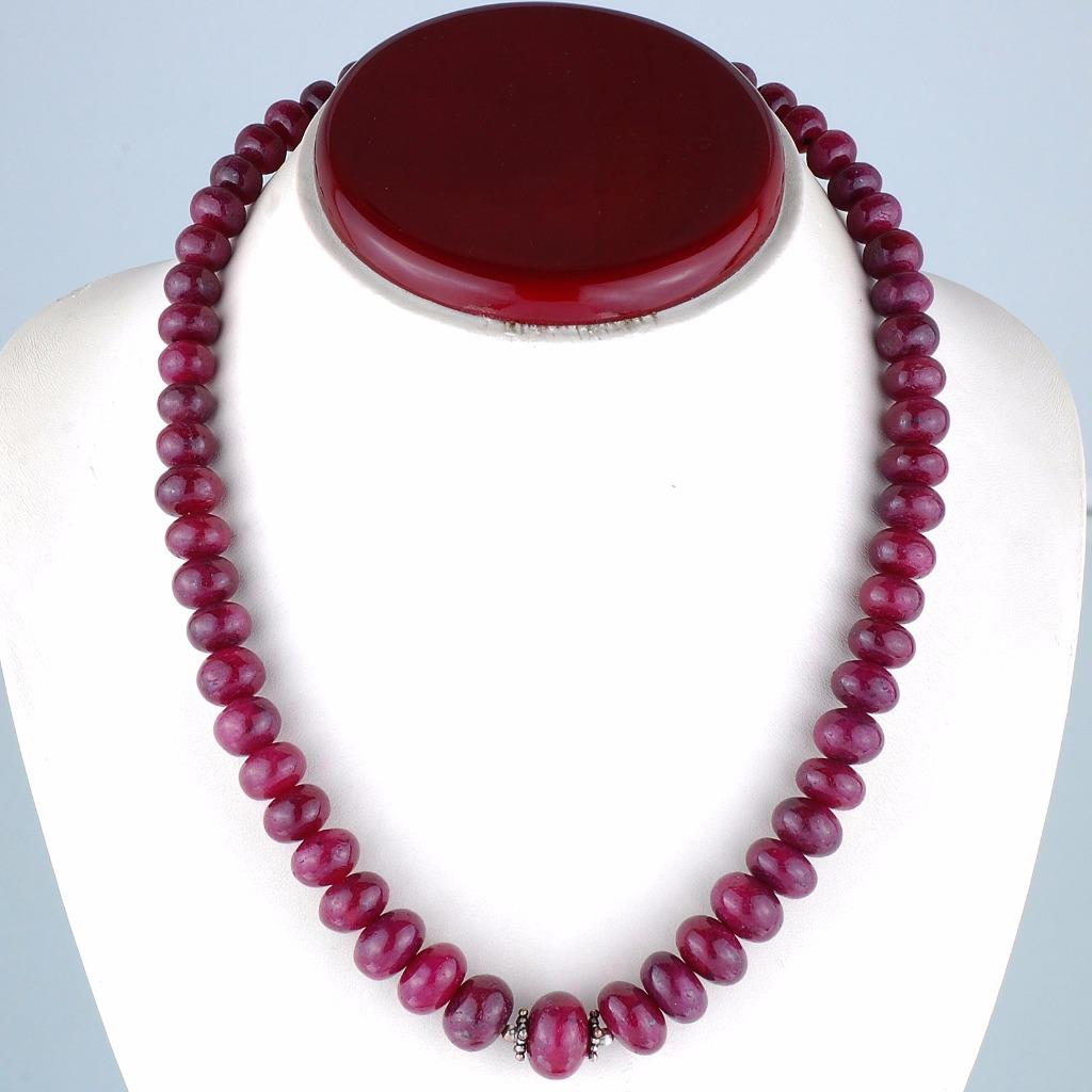 Red Ruby Beads: 810 Cts [9mm-14mm] Top Red Natural African Ruby Necklace