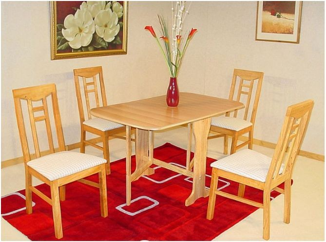 details about gateleg folding dining room set table and 4 chairs