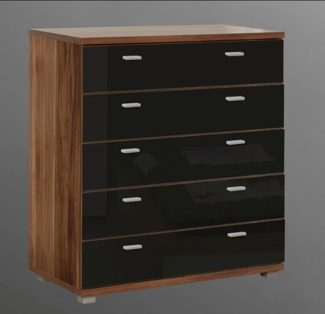 Valencia Wide Storage Chest Of 5 Drawers Black Gloss