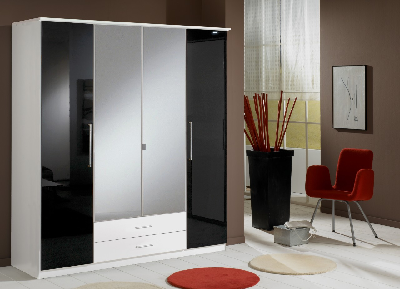 Berlin 4 Door Wardrobe German High Gloss Black and White ...