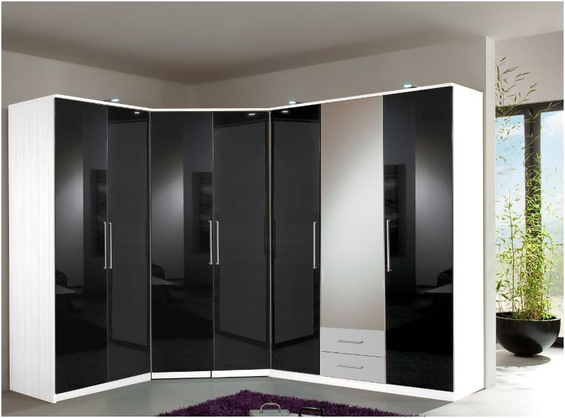 White bed and wardrobe set : Berlin corner wardrobe bedroom set suite high gloss black