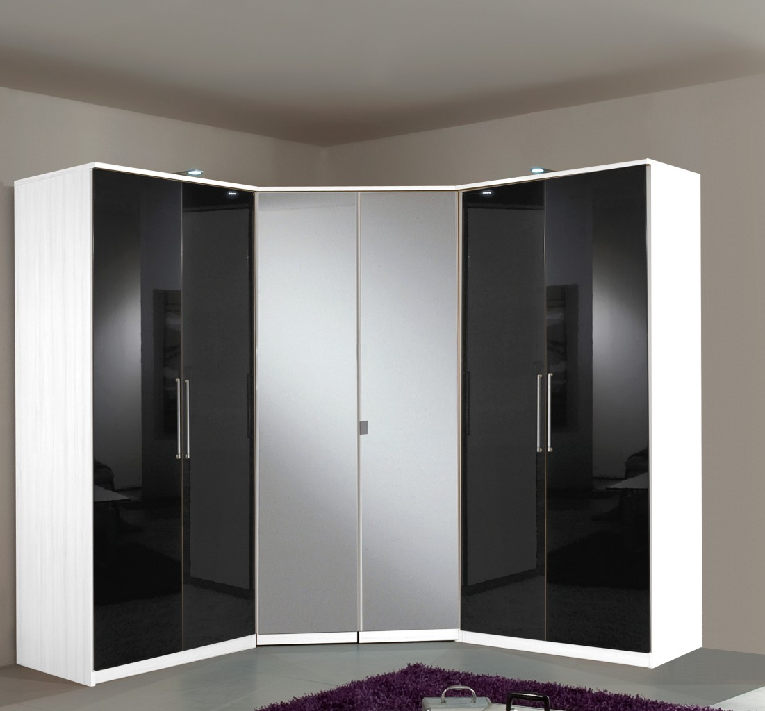 Berlin 6 door corner wardrobe set high gloss black and - Armoire d angle pour chambre ...