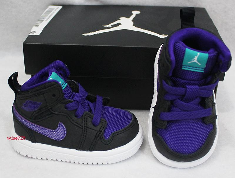 NIKE JORDAN AJ1 MID BABY TODDLER BOYS SHOES TRAINERS BLACK ...