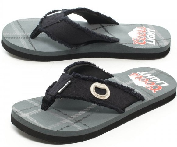 coors light brewing beer bottle opener mens beach party flip flop sandal shoes ebay. Black Bedroom Furniture Sets. Home Design Ideas