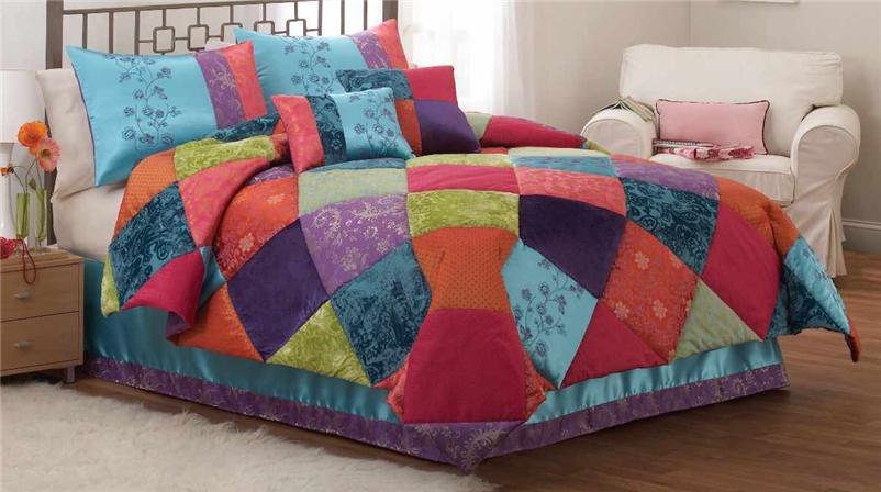 TEEN GIRL KASHMERE GEM COLORFUL MULTICOLOR 3PC FULL QUEEN COMFORTER BEDDING SET