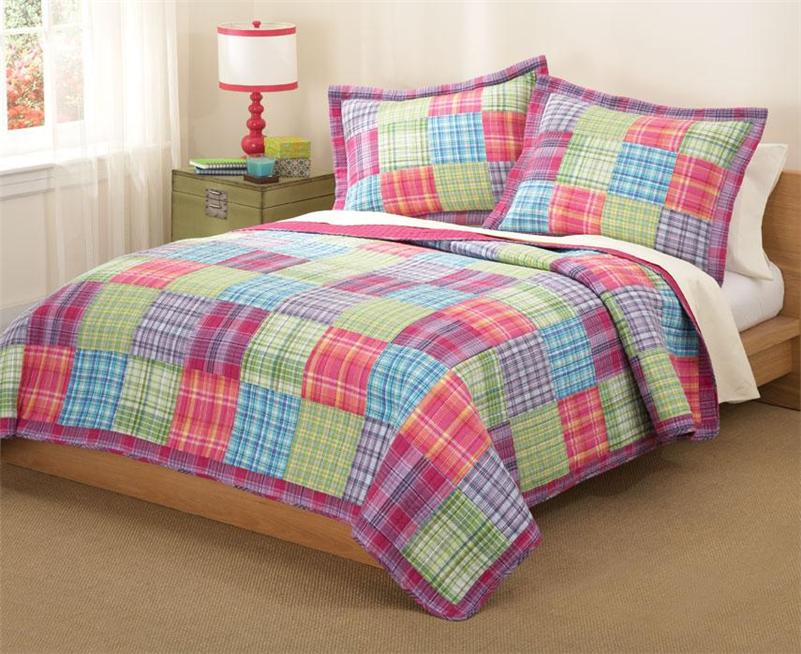Teen Girl Pink Purple Blue Plaid Patchwork 3pc Full Queen