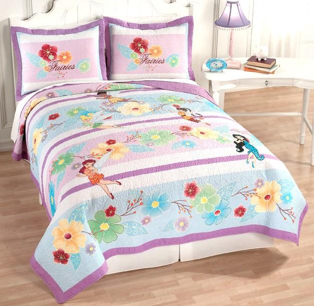 fairies tinker bell pixie purple full queen quilt 2 shams bedding set