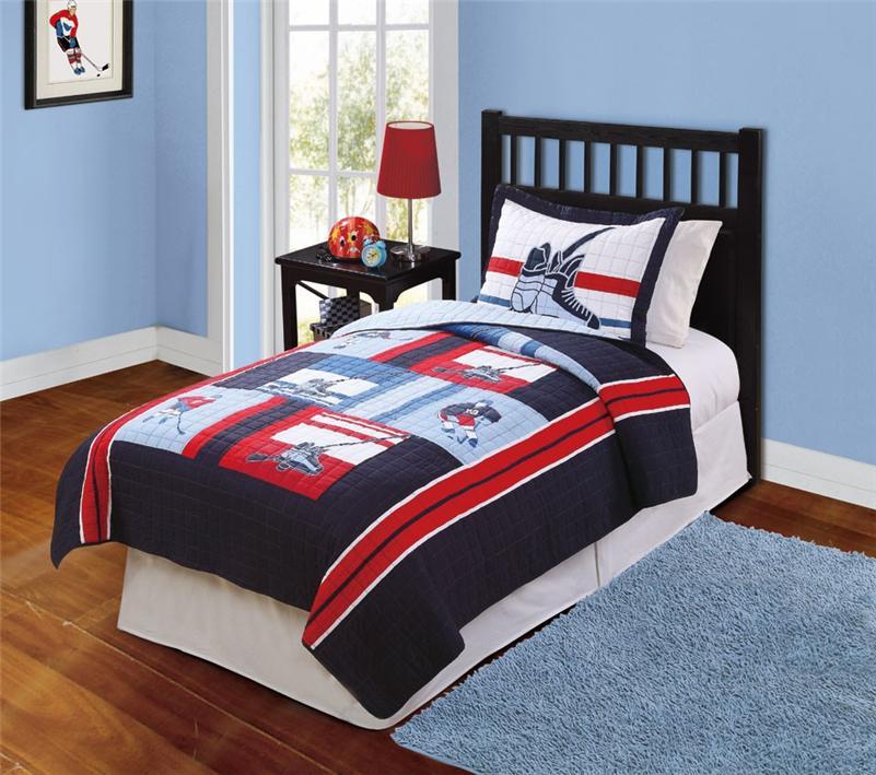 hockey game sports navy blue teen boy bedding set twin full queen quilt ebay. Black Bedroom Furniture Sets. Home Design Ideas