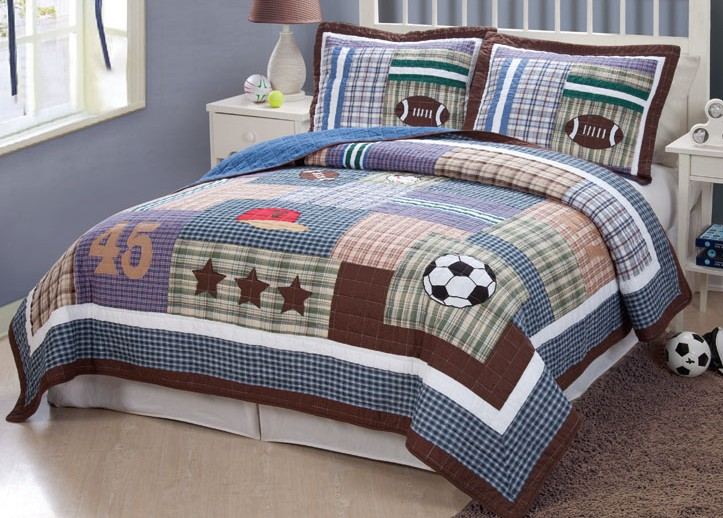 sports football field soccer boys blue twin full queen quilt bedding set ebay. Black Bedroom Furniture Sets. Home Design Ideas
