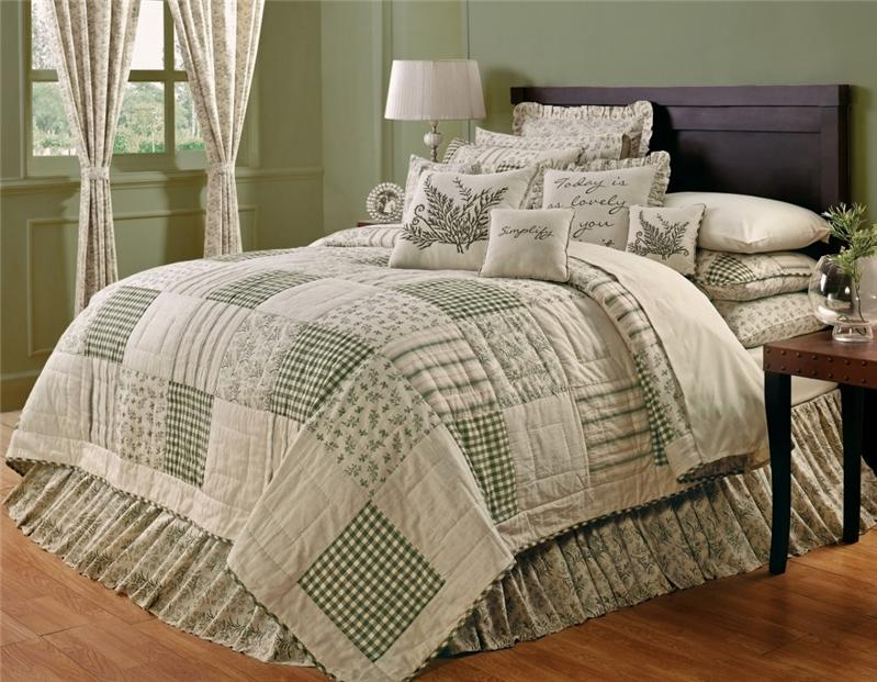 Meadowsedge country primitive 5pc queen cal king quilt for King shams on queen bed