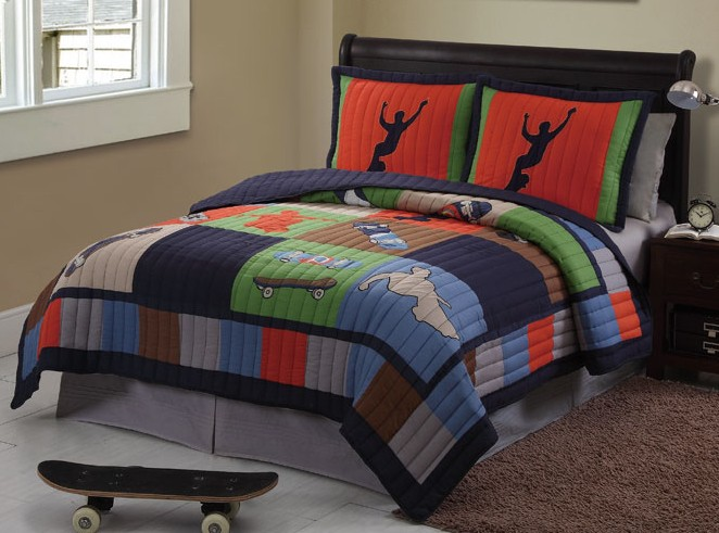 SPORTS TEEN BOY SKATE COOL SKATEBOARD TWIN FULL QUEEN QUILT BEDDING SET