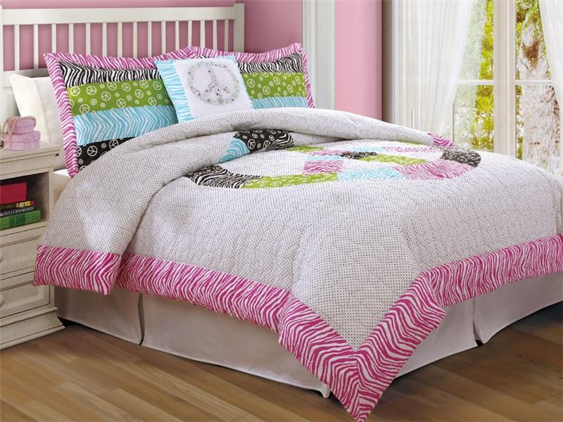 TEEN GIRL ZEBRA PINK GREEN PEACE SIGN TWIN FULL QUEEN COMFORTER BEDDING SET