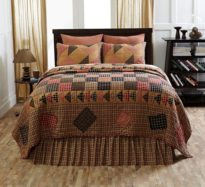 HOMESTEAD RUSTIC PRIMITIVE COUNTRY PLAID 4PC QUILT PILLOWCASES SKIRT ...