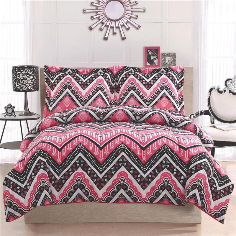 Girl teen kid zigzag chevron black white pink twin full queen comforter bed set ebay - Cute teenage girl bedding sets ...