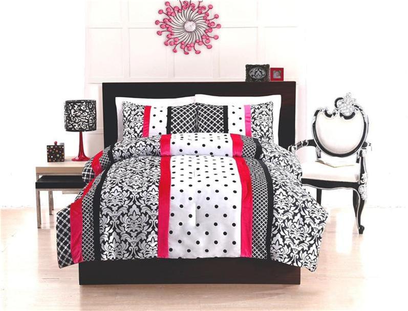 Teen kid black white pink dot stripe damask twin full comforter bed