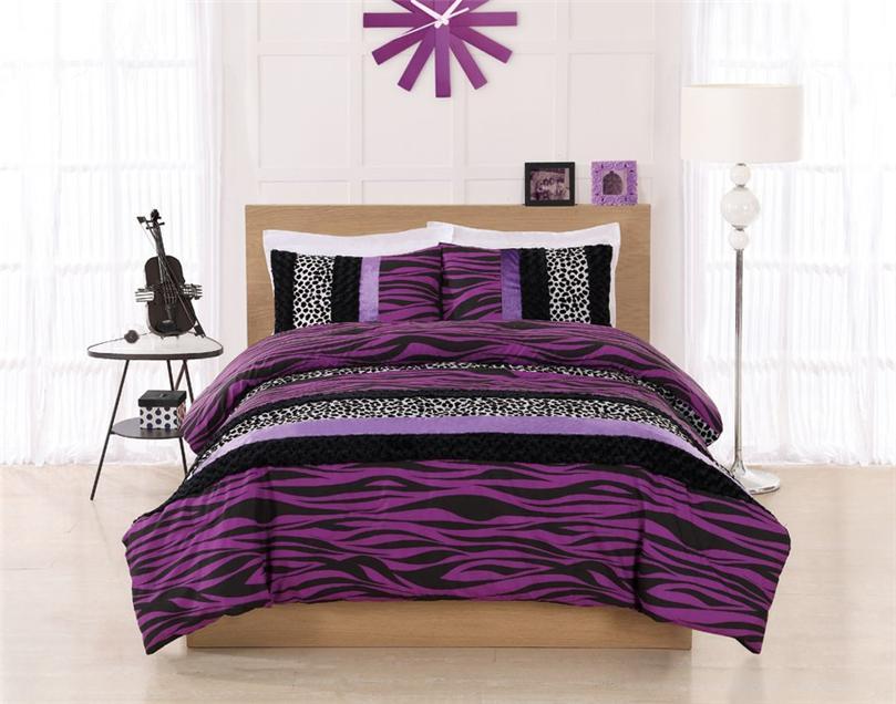 zebra stripe black purple leopard twin full comforter bed