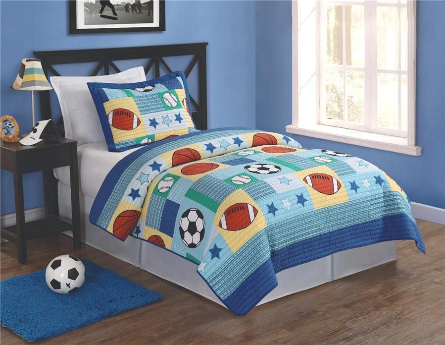 sports baseball basketball football soccer 2pc twin quilt bed set boy teen kid ebay. Black Bedroom Furniture Sets. Home Design Ideas
