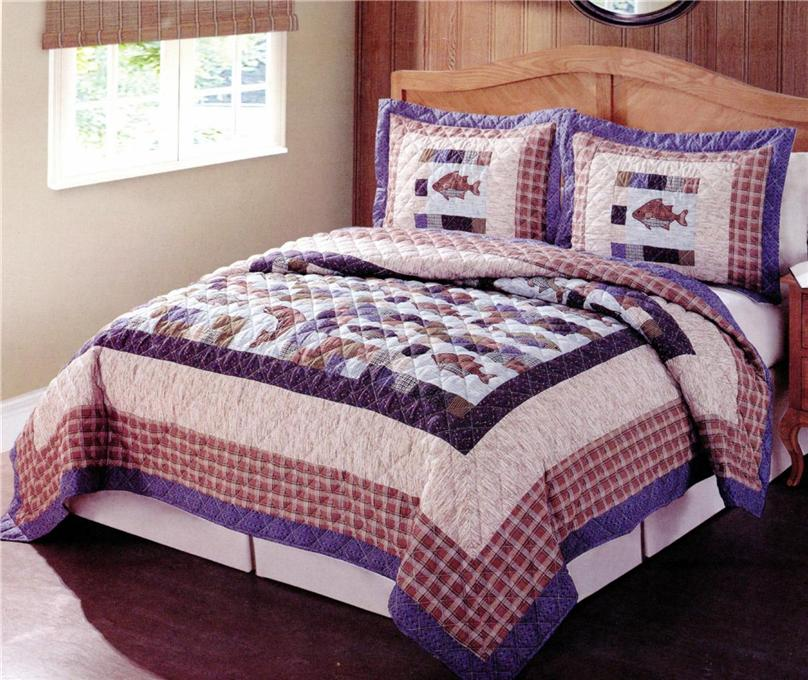Rustic cabin lodge lake fish fishing twin full queen king for King shams on queen bed