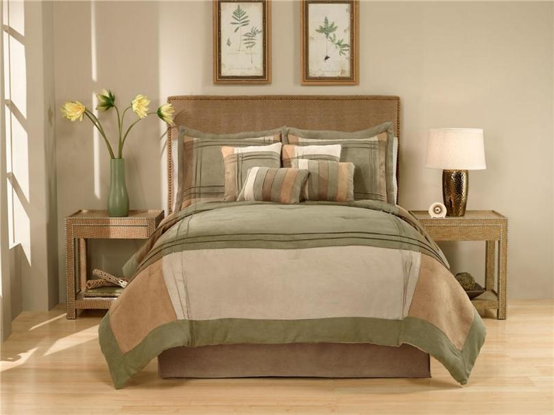 Modern green brown micro suede block queen king 8pc comforter bed in a
