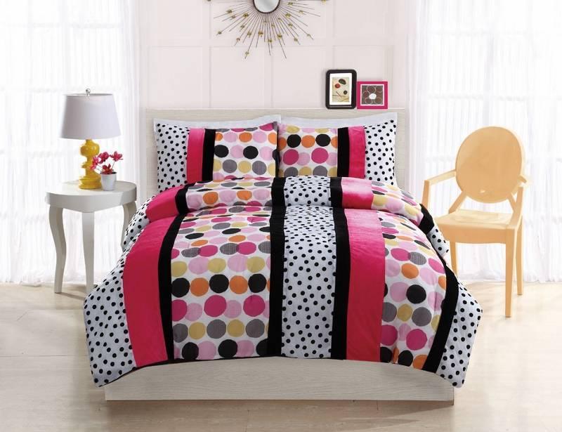 teen girl modern hot pink black white polka dots twin full comforter bed set ebay. Black Bedroom Furniture Sets. Home Design Ideas