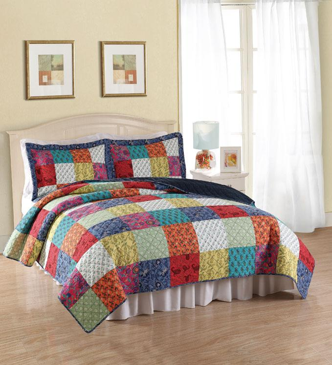 Tradition blue bright multi color cotton 3pc full queen for King shams on queen bed