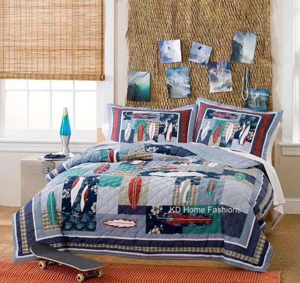 surfing surf board usa hawaiian teen boy bedding set queen full twin quilt ebay. Black Bedroom Furniture Sets. Home Design Ideas