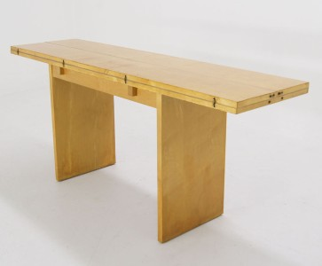 Details About Mid Century Modern Console Fold Out Leaf Dining Table