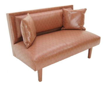 Vintage 1960 39 S Pink Vinyl Loveseat Sofa 2 Seater Couch Ebay