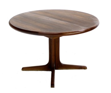 Danish Modern Round Walnut Dining Table 3 Extensions NICE Mid Century