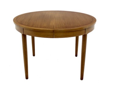 mid century danish modern round walnut dining conference table w 3 leaves ebay. Black Bedroom Furniture Sets. Home Design Ideas