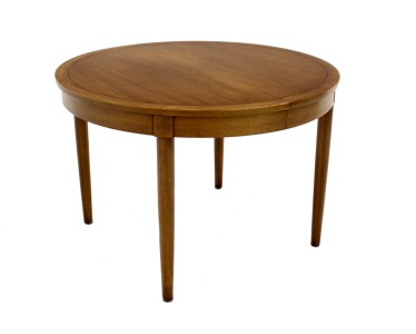 Mid Century Danish Modern Round Walnut Dining Conference Table W 3