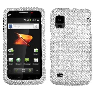 about For ZTE Warp Crystal Diamond BLING Hard Case Phone Cover Silver