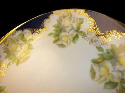 ROSENTHAL DONATELLO Hand Painted Roses COBALT BLUE PLATE TRAY