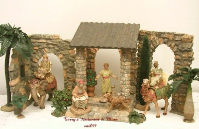 fontanini italy early 5 lighted entrance arch nativity. Black Bedroom Furniture Sets. Home Design Ideas
