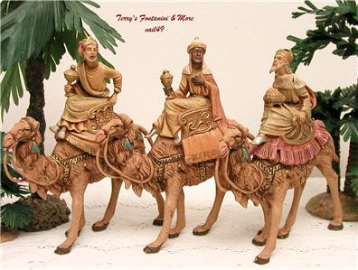 fontanini depose italy early 5 3 kings on camels nativity. Black Bedroom Furniture Sets. Home Design Ideas