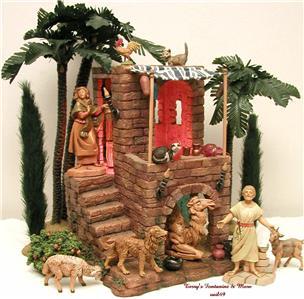 fontanini italy retired 5 9pc nativity village inn w. Black Bedroom Furniture Sets. Home Design Ideas