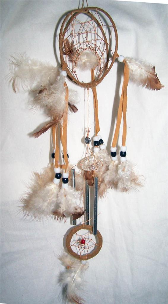 TAN DOUBLE LOOP 40 INCH DREAMCATCHER Real Feathers Chimes Beads Stunning Is Dream Catcher Real