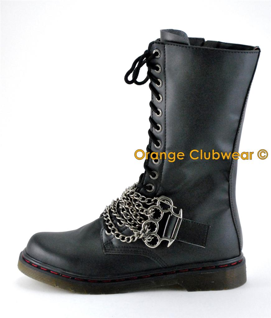 Luxury Boots 2016 Combat Boots Womens Low Heel Combat Gothic Punk Ankle Shoes