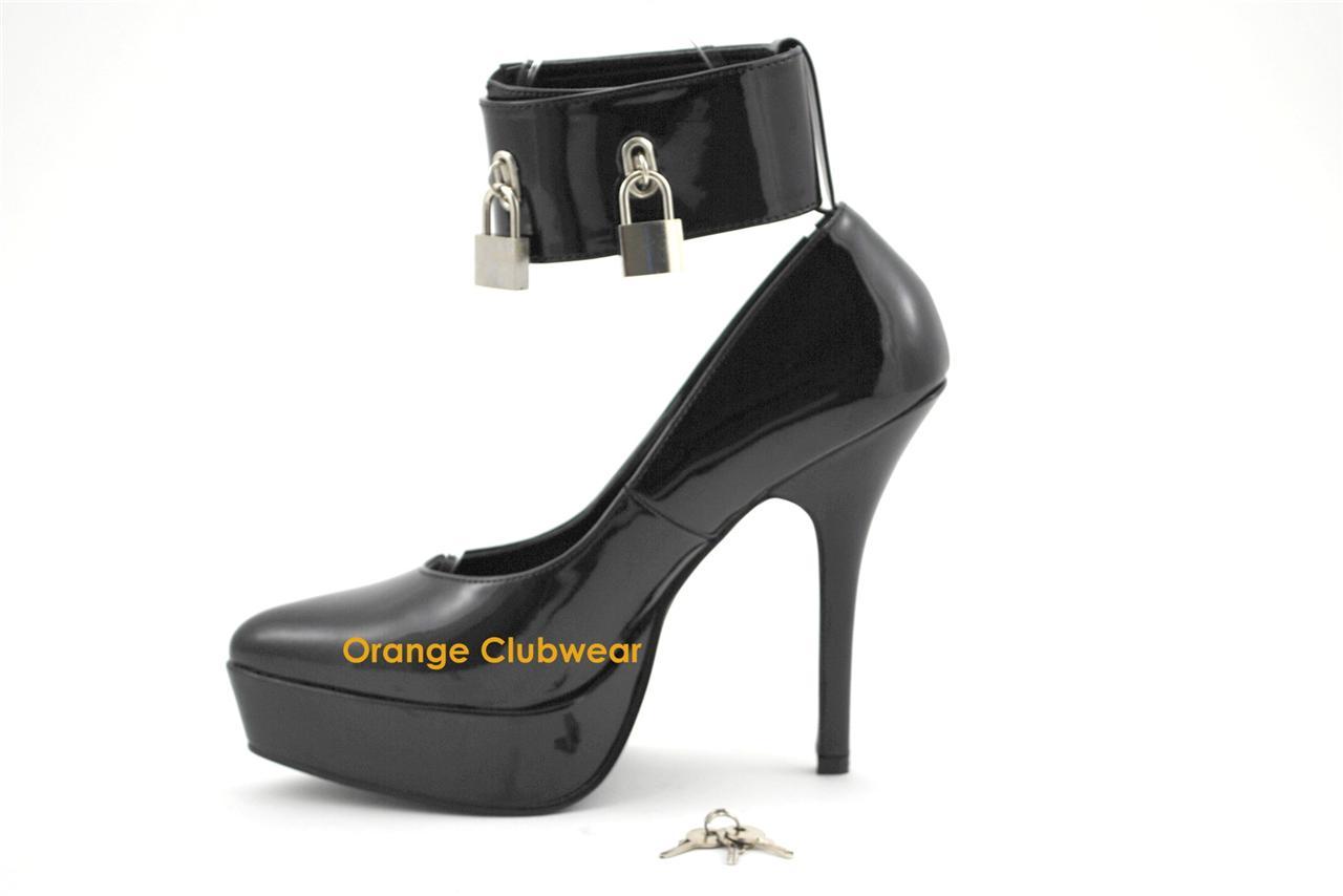 pleaser womens black platform pointed toe locking ankle