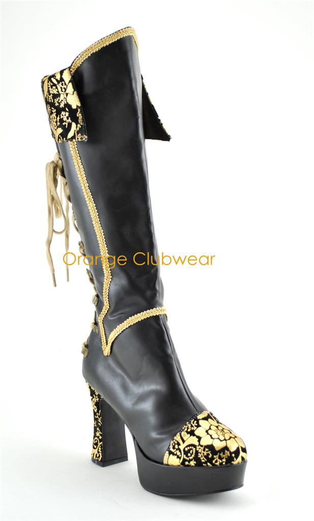 Details about PLEASER Exotica-2030 Pirate Medieval Knee Boots Heels
