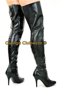 pleaser 4002 rubber thigh high boots heels shoes ebay