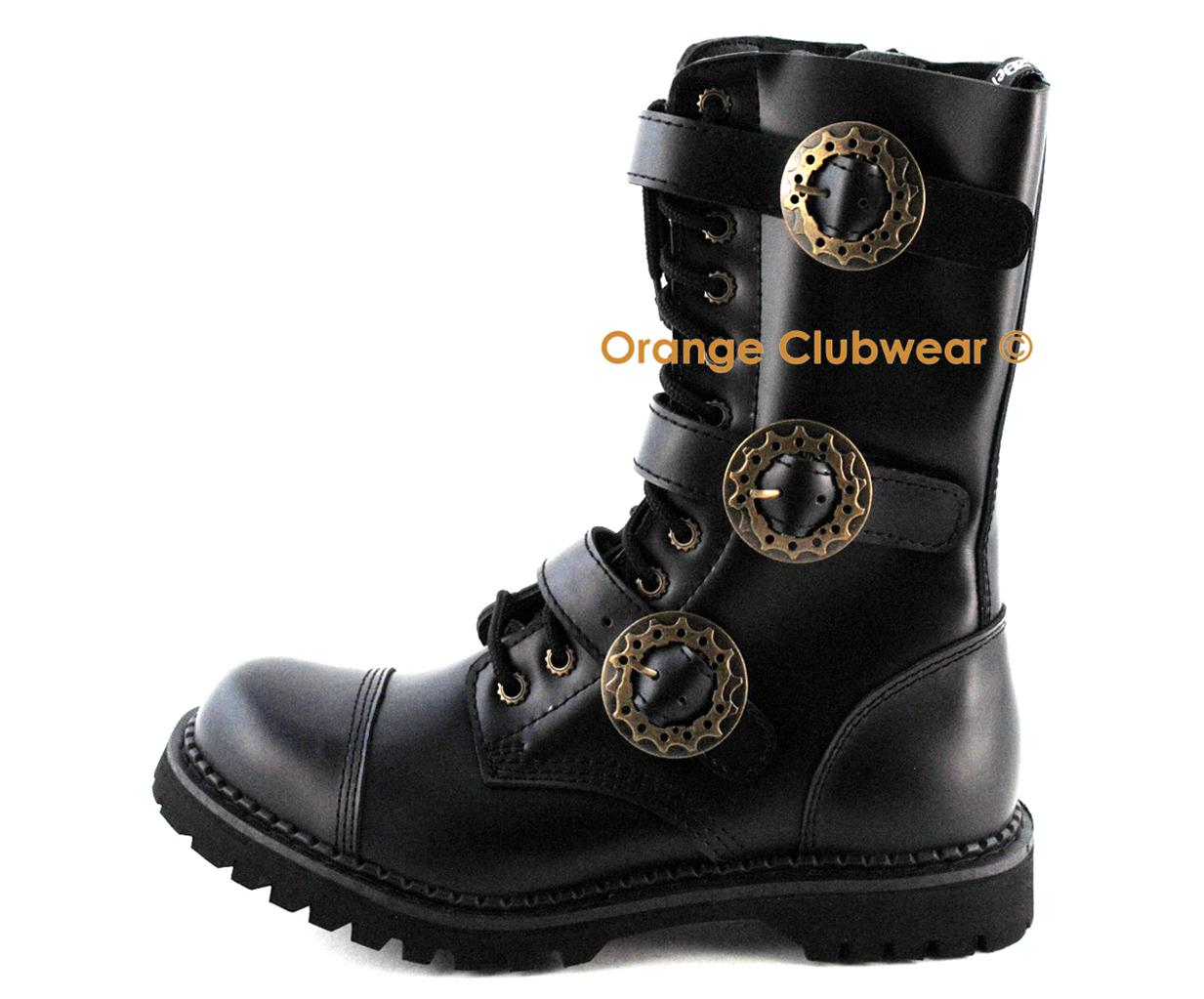 demonia steam12 mens steampunk leather combat steel toe