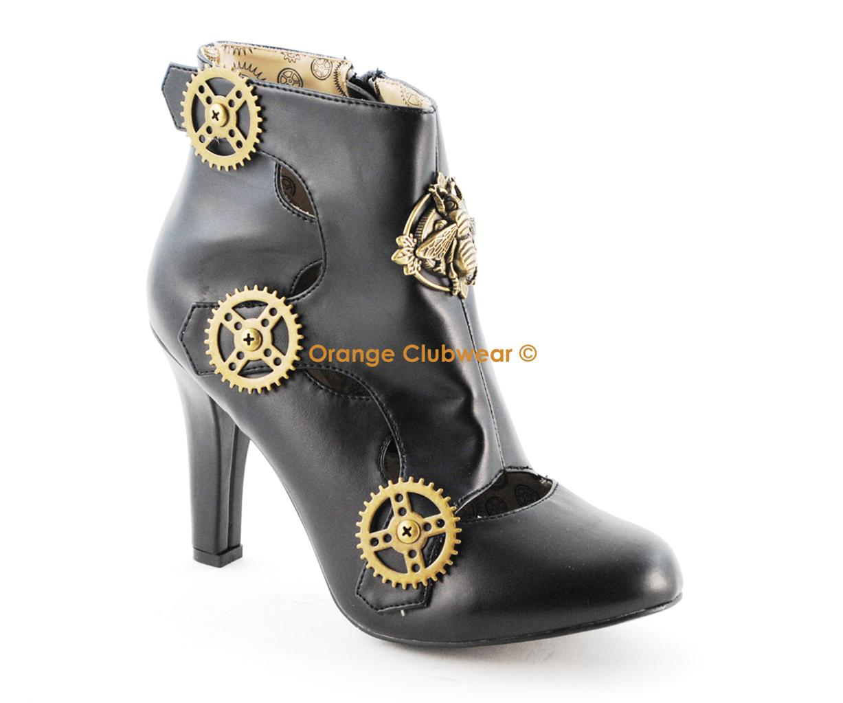 Details about DEMONIA Tesla-12 Women's Steampunk Booties Shoes Heels