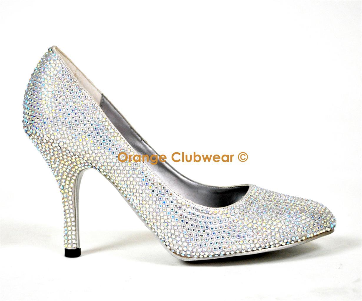 bordello iridescent gem rhinestone prom evening pumps