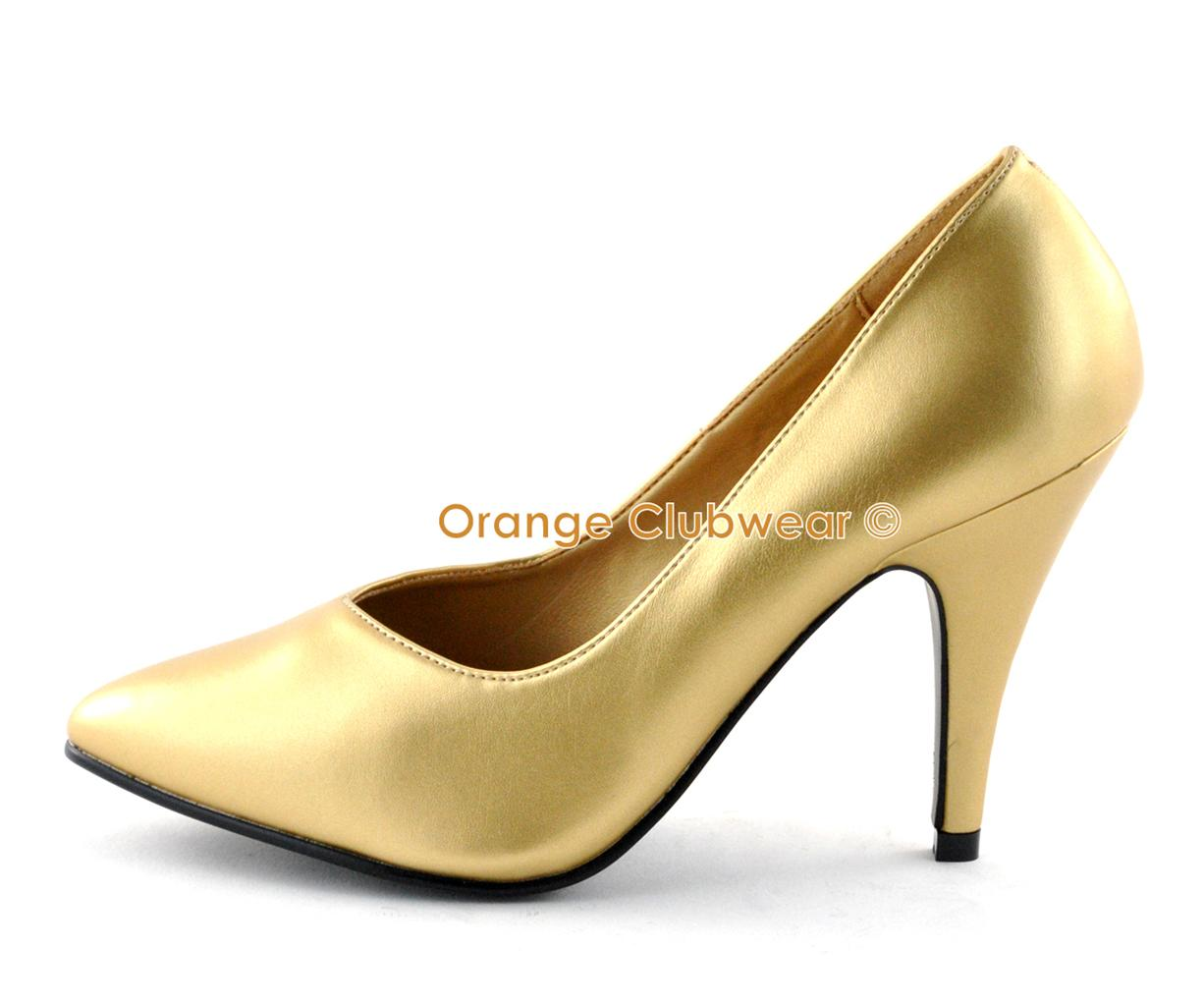 pleaser 4 quot high heels classic basic gold pumps wide